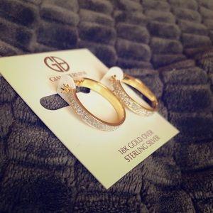 Glitter 18K gold hoops NWT